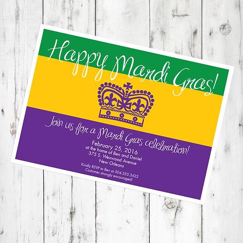 Mardi Gras / Carnival Personalized Party Invitation