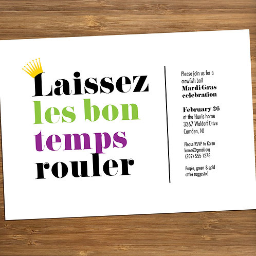 Laissez les Bon Temps Rouler / Mardi Gras Personalized Party Invitation