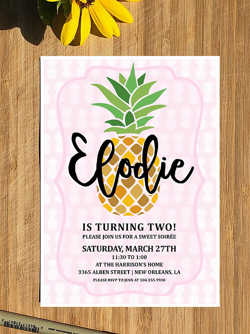 Pineapple Baby / Kids Personalized Birthday Invitation