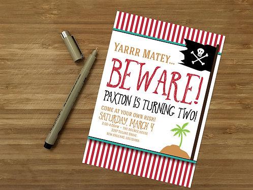 Pirate Yarr Matey Personalized Kids Birthday Invitation