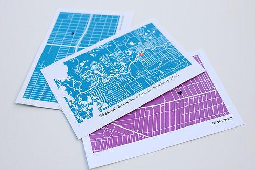 Custom Neighborhoods Map Moving Announcement Postcard