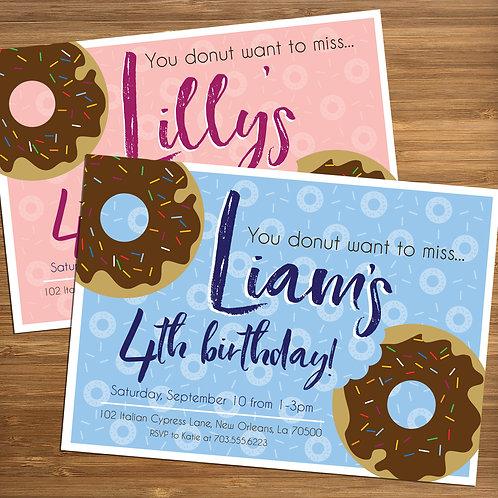 Doughnut / Donut Party Personalized Birthday Invitation