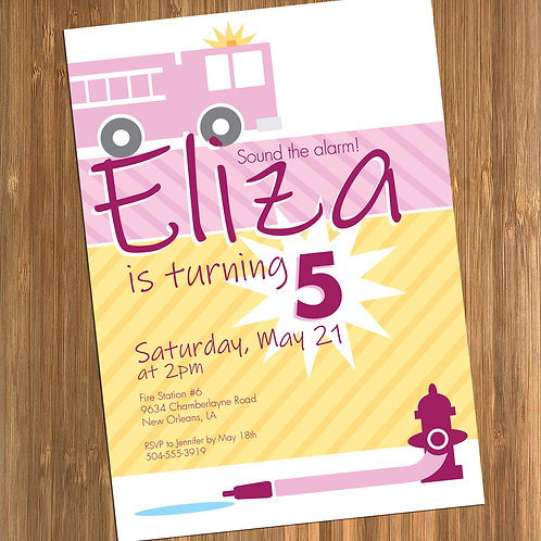 Pink Firetruck Birthday Personalized Party Invitation