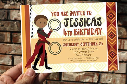 Girls Black Panther / Wakanda Personalized Birthday Invitation