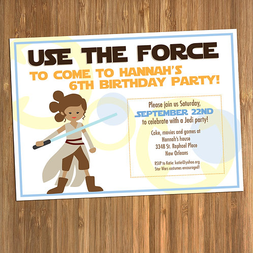 Star Wars Rey Girls Birthday Invitation