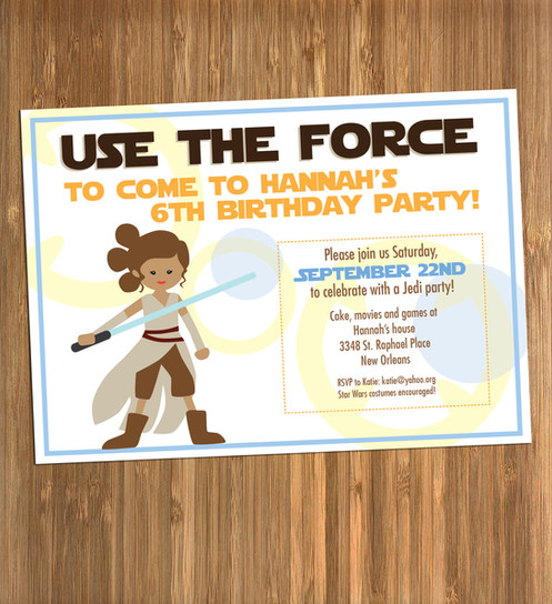 Celebrate Your Little Jedi With Personalized Star Wars Rey Themed Birthday Invitations
