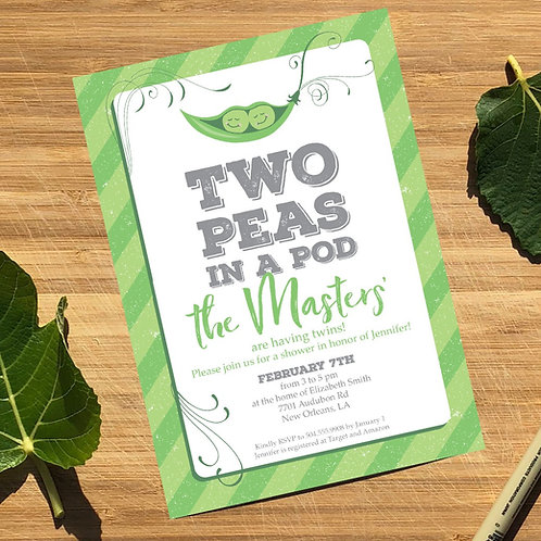 Two Peas in a Pod Personalized Twins Baby Shower Invitation