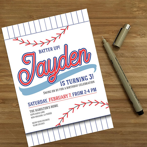 Baseball Party Personalized Kids Birthday Invitation