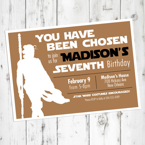 Rey Star Wars Birthday Invitation