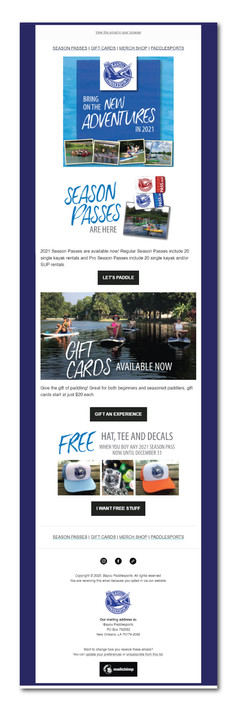 Bayou Paddlesports Email Campaign