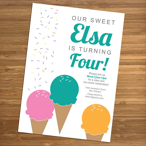 Sweet Ice Cream Cone Party Personalized Birthday Invitation