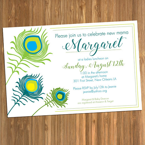 Peacock Feather Baby Shower Personalized Invitation