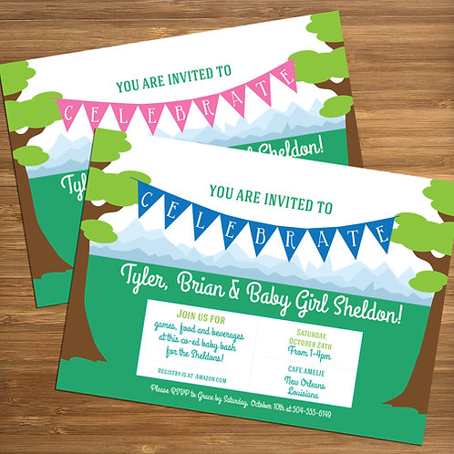 Mountain Picnic / Couples / Coed Personalized Baby Shower Invitation
