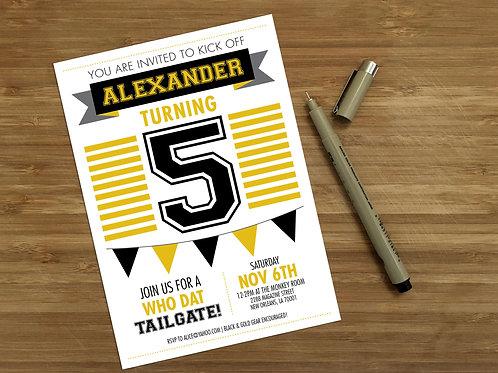 New Orleans Saints Personalized Kids Birthday Invitation