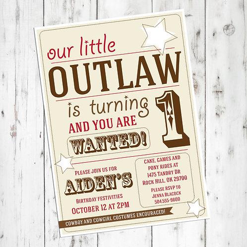 Cowboy / Cowgirl Birthday Personalized Invitation