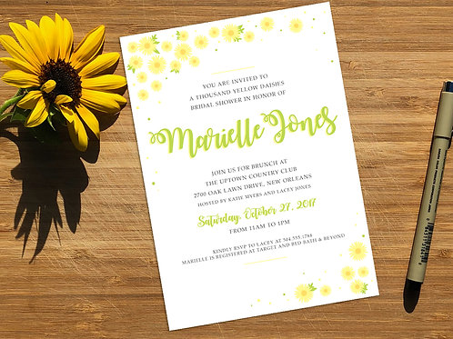 Gilmore Girls Thousand Yellow Daisies Personalized Bridal Shower Invitation
