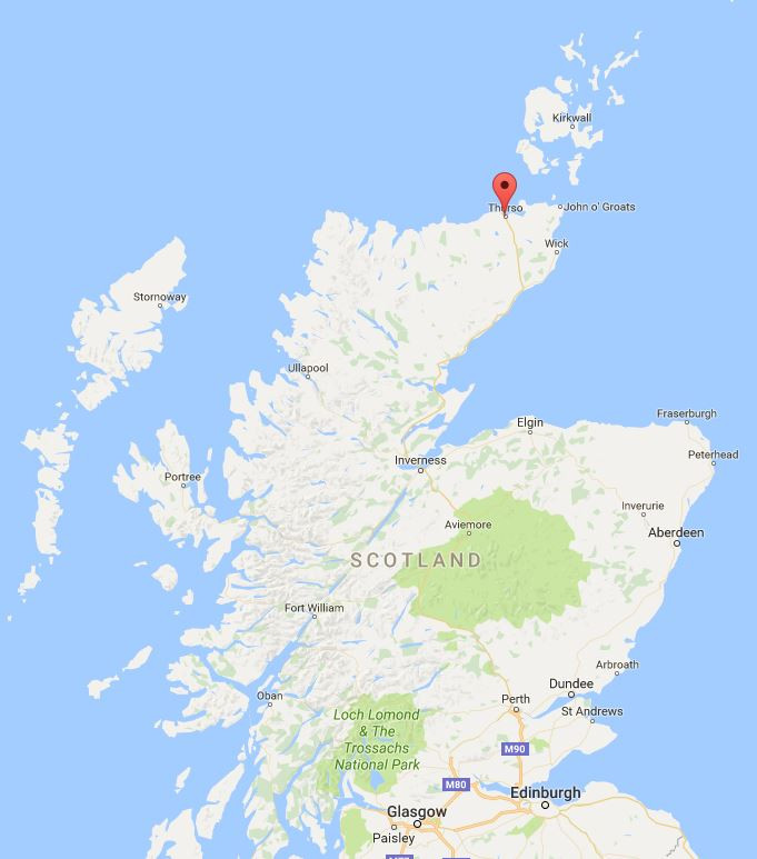The location of the distillery (Thurso), Source: Google Map
