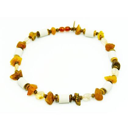 Bernstein & EM-Keramik Halskette ★ Citrin