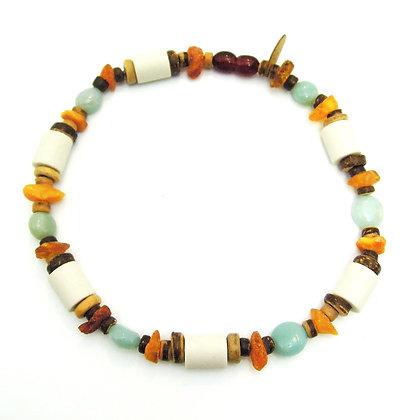Bernstein & EM-Keramik Halskette ★ Amazonit