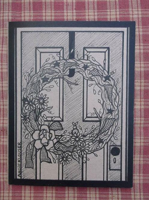 FRONT DOOR .... Blank Note card .... ink