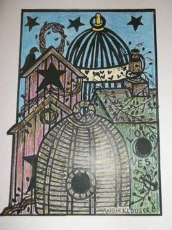 COUNTRY BIRDHOUSES ... COLORED
