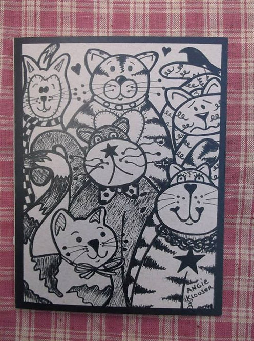 KOUNTRY KITTYS .... Encouragement card .... ink