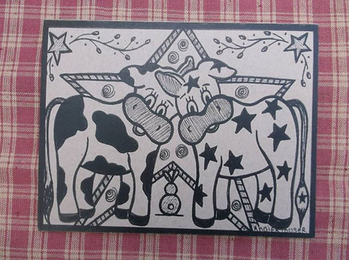 COW PALS .... Encouragement card .... ink