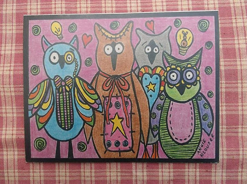 AWESOME OWLS .... Birthday card .... color