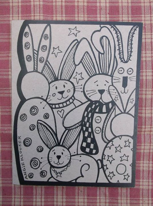 FUNNY BUNNYS.... Thinking of You card .... ink