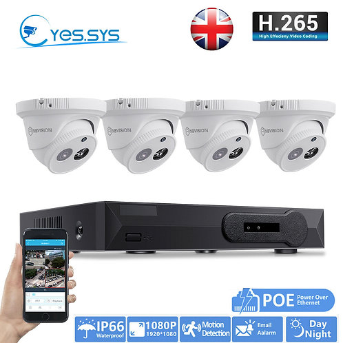 2mp IP CCTV Dome System, 1tb HDD, 4xCamera System