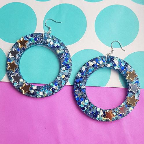 Starry Nighy Hoop Earrings