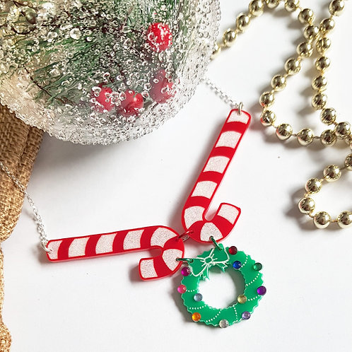 Candy cane and wreath necklace