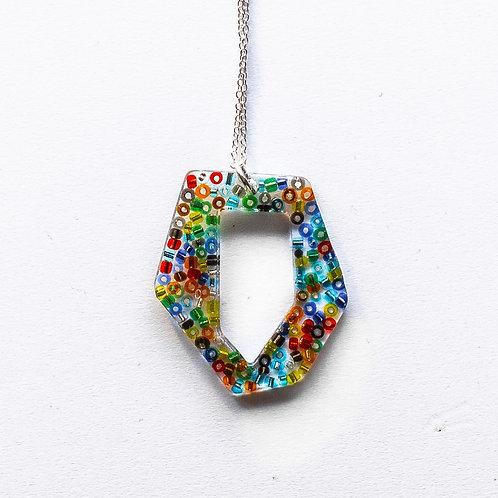 Geometric beaded pendant