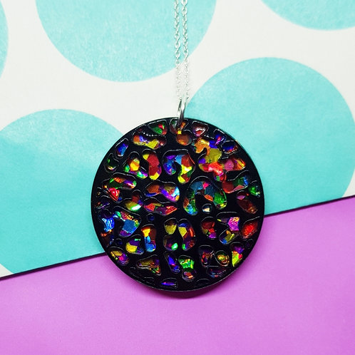 Rainbow/ Leopard Print Pendant