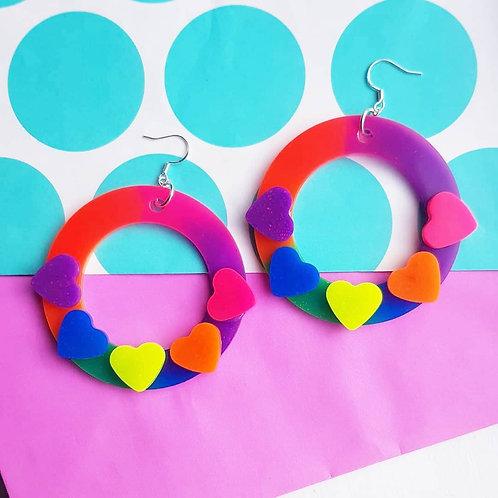 UV Rainbow Hoop Earrings