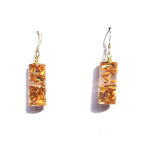 Gold Crushed Mini Cylinder Earrings