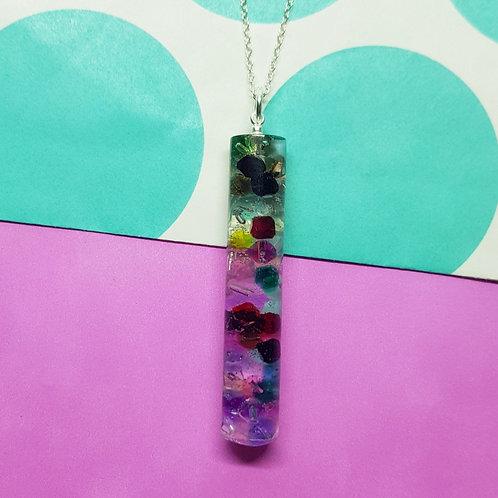 Rainbow Bead Pendant - Long