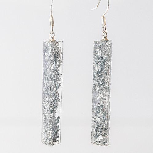 Silver Crushed Long Earrings
