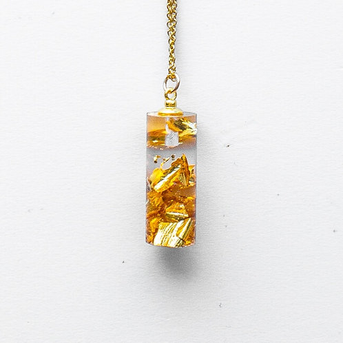 Gold Crushed Mini Cylinder Pendant