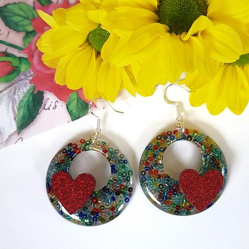 Heart Beaded Earrings
