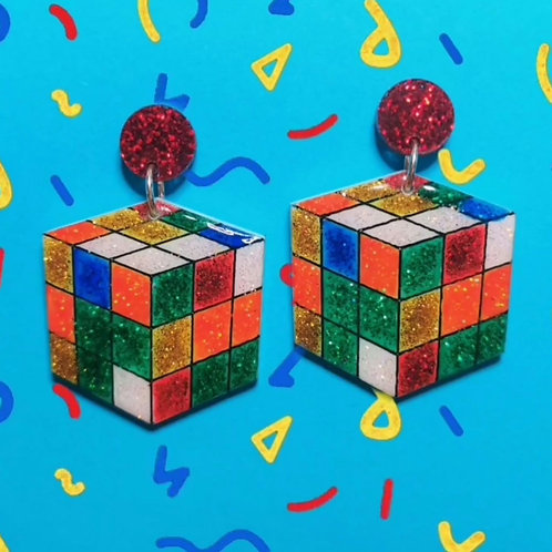 Rubiks earrings