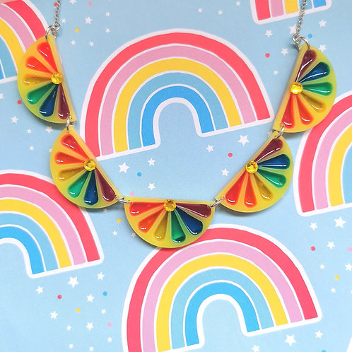 Statement lemon slice necklace