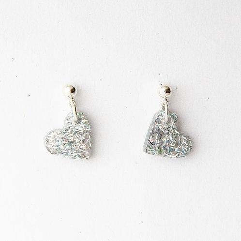 Small Silver Heart Earrings