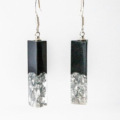 Silver/Black Crushed Mini Earrings