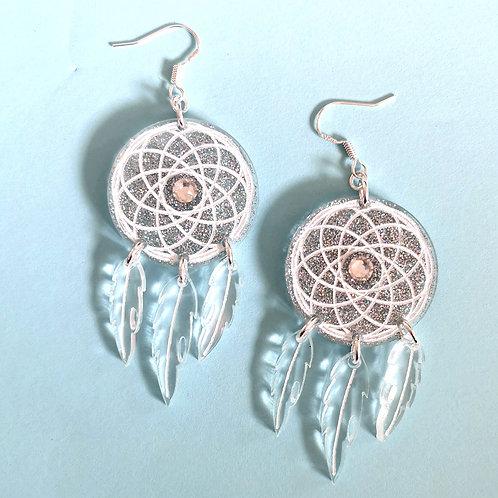 Large dream catcher earrings