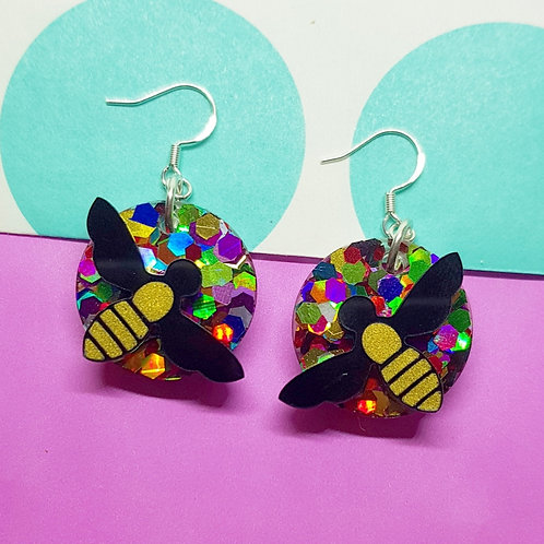 Rainbow Bee Earrings