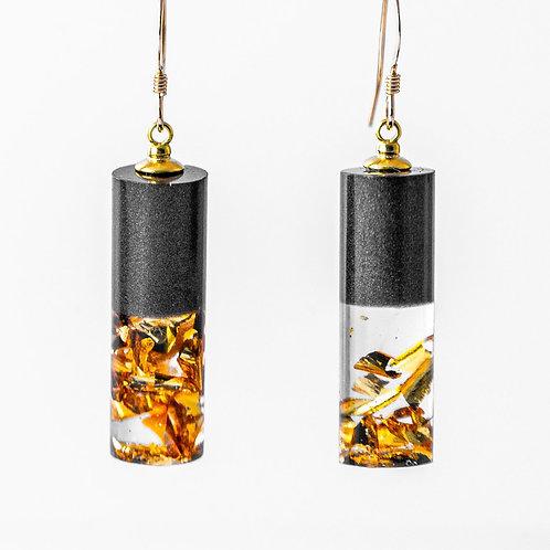 Gold/Black Crushed Mini Cylinder Earrings