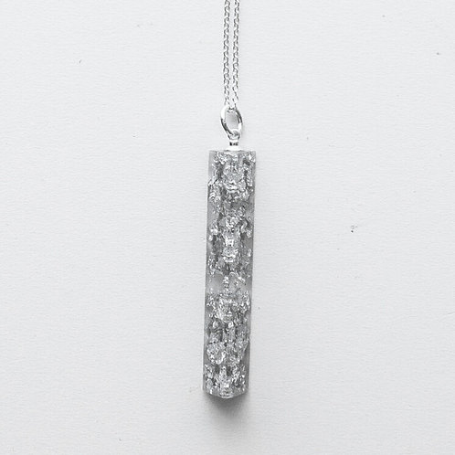 Silver Crushed Long Pendant