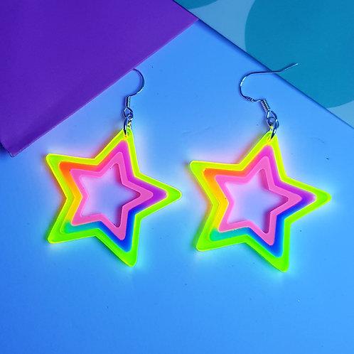 Neon Star earrings