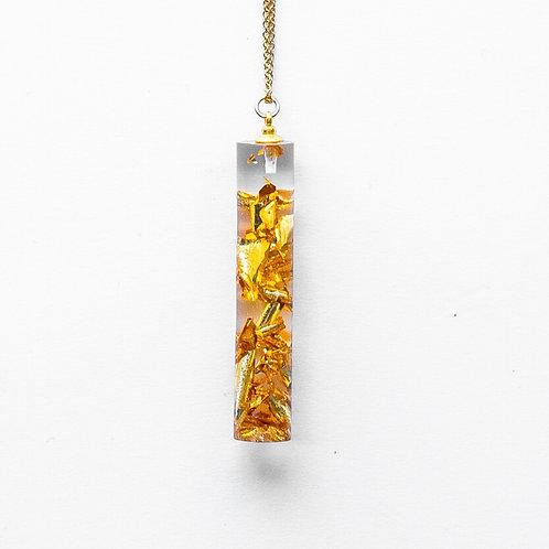 Gold Crushed Cylinder Pendant
